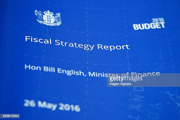 Finance Minister Bill English's Fiscal Strategy Report on display during the printing of the budget at Printlink on May 24 2016 in Wellington New...