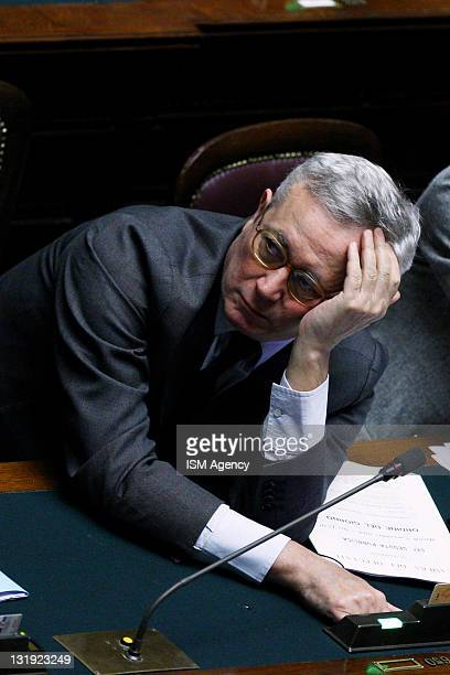 Finance Minister Giulio Tremonti attends a vote at the Chamber of Deputies on November 8 2011 in Rome Italy Mr Berlusconi is today facing his 54th...