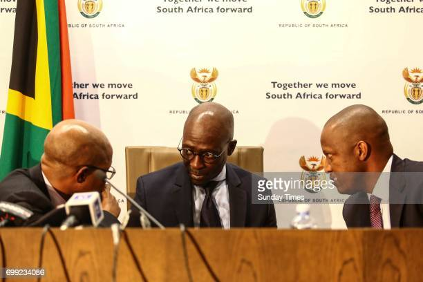 Finance Minister Malusi Gigaba addresses the media in response to recession and credit rating announcement by Moodys on June 15 2017 in Pretoria...