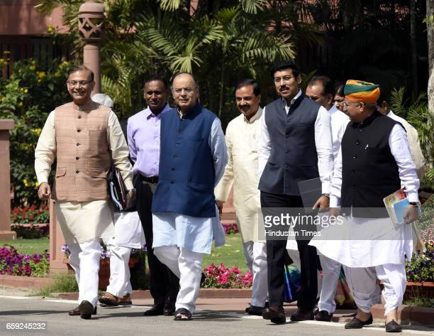 Finance Minister Minister of Corporate Affairs Arun Jaitley with other Ministers arrives to attend the Parliament Budget Session after the BJP...