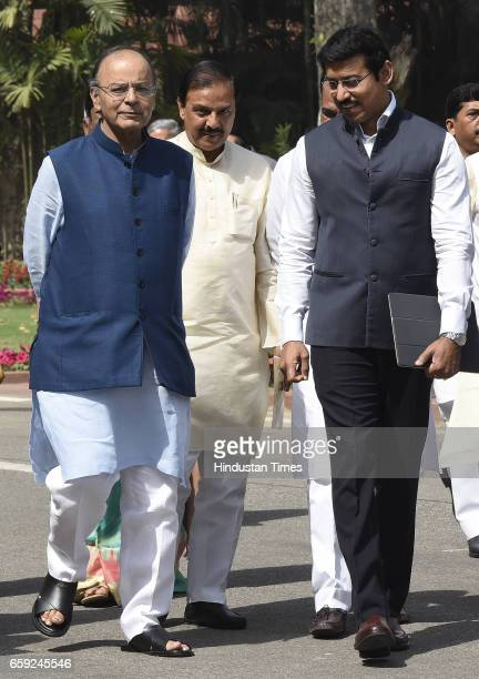Finance Minister Minister of Corporate Affairs Arun Jaitley with other Ministers arrives for attending the Parliament Budget Session after theBJP...