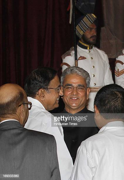 Finance Minister P Chidamabaram with Shashi Kant Sharma before he took oath as Comptroller and Auditor General of India at a ceremony at Rashtrapati...