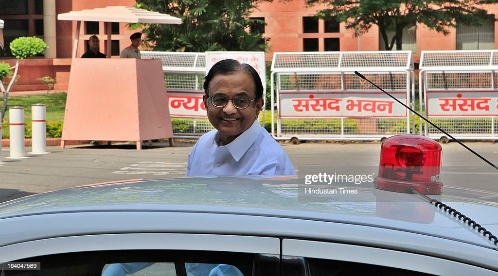 Finance Minister P. Chidambaram after addressing the media on DMK withdrawal of its support to the UPA government over the issue of alleged human rights violations of Tamils in Sri Lanka on March 19, 2013 in New Delhi, India. The DMK has 18 Lok Sabha MPs and six Rajya Sabha MPs and was the second largest constituent of the Government. With the DMK pullout, the strength of the UPA in the Lok Sabha will be reduced to 224 but with outside support of SP (22) and BSP (21) it enjoyed the support of 281 MPs above the half way mark of 270.