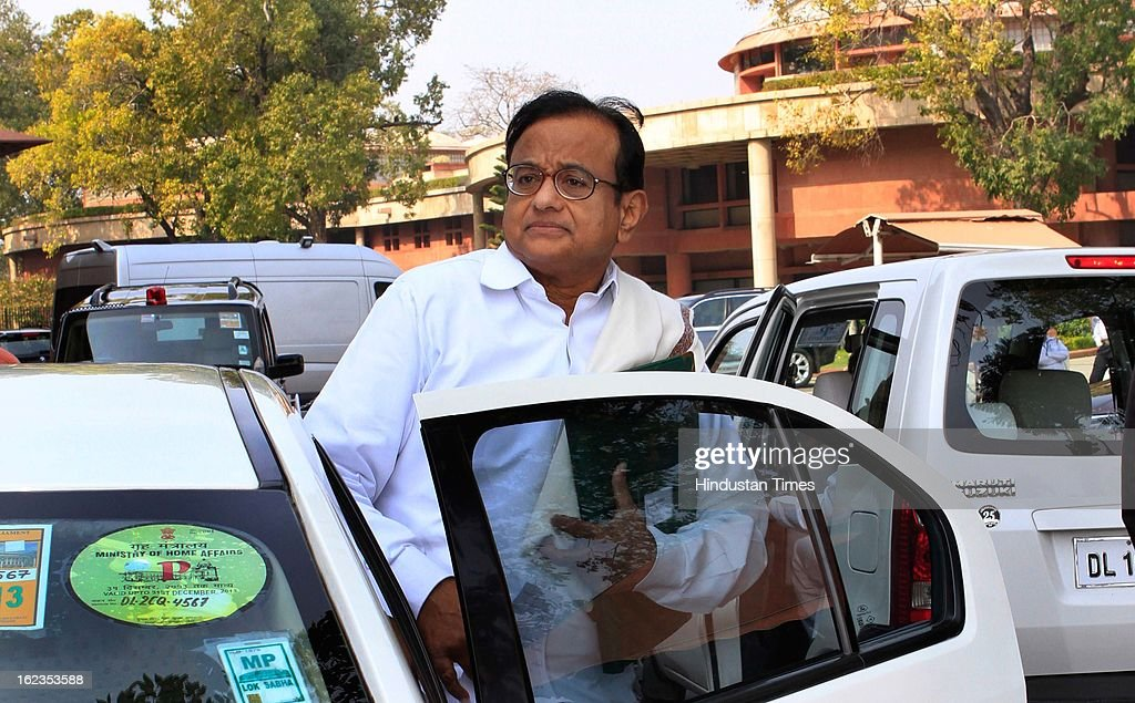 Finance Minister P Chidambaram at Parliament during the budget session, on February 22, 2013 in New Delhi, India. The Hyderabad twin blasts issue rocked parliament as the opposition parties attacked the government after Home Minister Shinde said there were prior intelligence reports about the blasts.