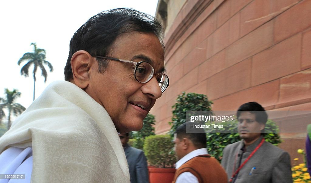 Finance Minister P. Chidambaram at Parliament during the opening day of Budget session on February 21, 2013 in New Delhi, India.