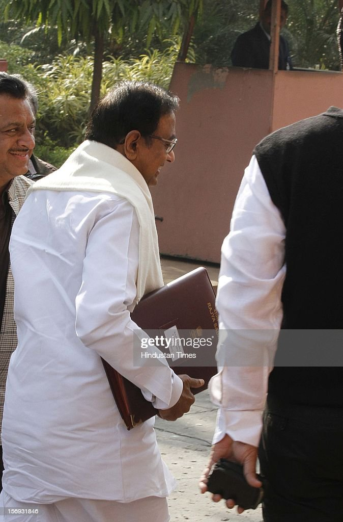 Finance Minister P Chidambaram at Parliament House on the first day of its winter session on November 22, 2012 in New Delhi, India. Parliament's winter session began on a stormy note as the issue of FDI in trade and reservation for ST/SC in promotion disrupted the Lok Sabha and Rajya Sabha.