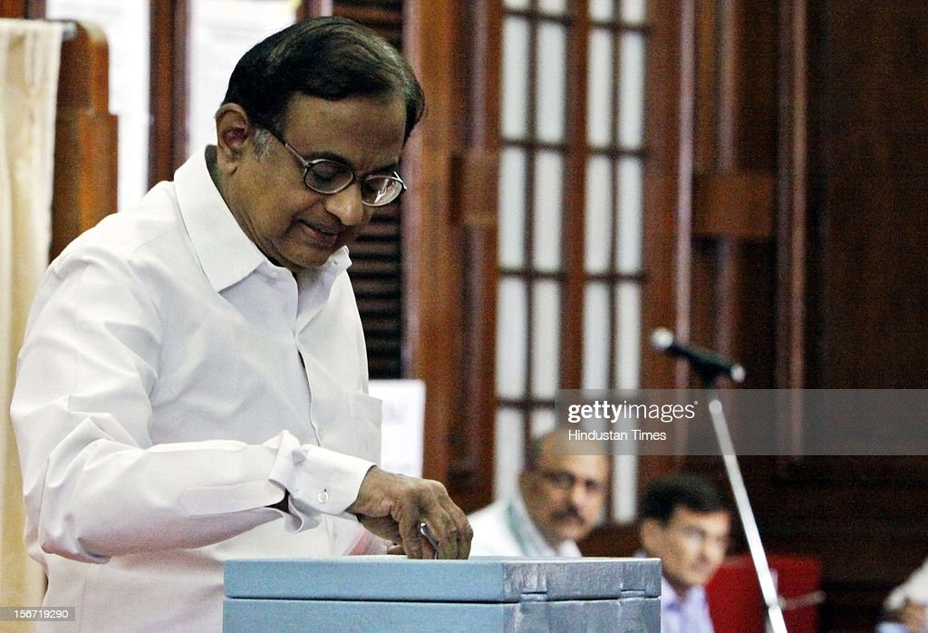 'NEW DELHI, INDIA - AUGUST 7: Finance Minister P Chidambaram casting hiis vote for the election of Vice President at Parliament house on August 7, 2012 in New Delhi, India. (Photo by Sunil Saxena/Hindustan Times via Getty Images)'