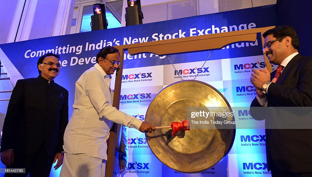 Finance Minister P. Chidambaram inaugurats the equity trading platform with Jignesh Shah, Vice chairman MCX-SX and Arvind Mayaram, Department of Economic Affairs of MCX-Stock Exchange (MCX-SX) on Saturday, February 9, 2013.
