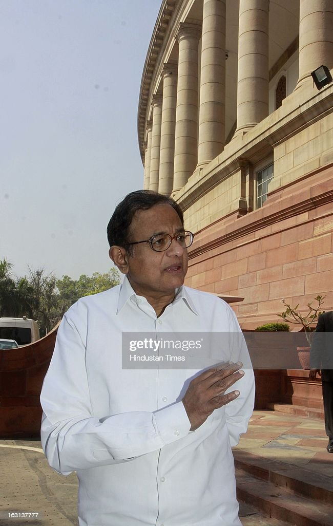 Finance Minister P. Chidambaram, leave at parliament after attending ongoing parliament budget session on March 5, 2013 in New Delhi, India. Both houses of Parliament were adjourned till noon after opposition parties raised various issues including the killing of a police officer in Uttar Pradesh.