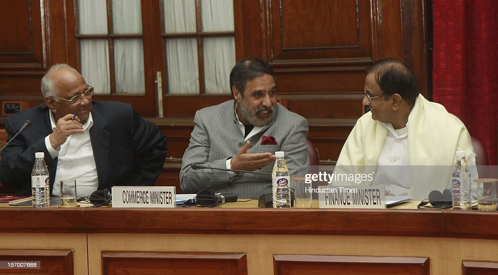 Finance minister P Chidambaram, NCP Leader Sharad Pawar and Commerce Minister Anand Sharma attending all party meeting on to break the deadlock on Foreign Direct Investment issue during the Parliament winter session on November 26, 2012 in New Delhi, India. Main opposition party BJP wants debate under rule 184 which has provision of vote but government wants the speaker to decide on debate rules.