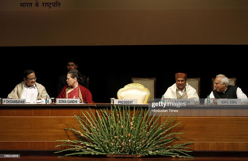 Finance Minister P Chidambaram, UPA Chairman Sonia Gandhi, Defence Minister A K Antony and Minister of Communications & IT Kapil Sibal during the Commemoration of 150th Birth Anniversary of Swami Vivekananda at Rashtrapati Bhawan on January 12, 2013 in New Delhi, India.