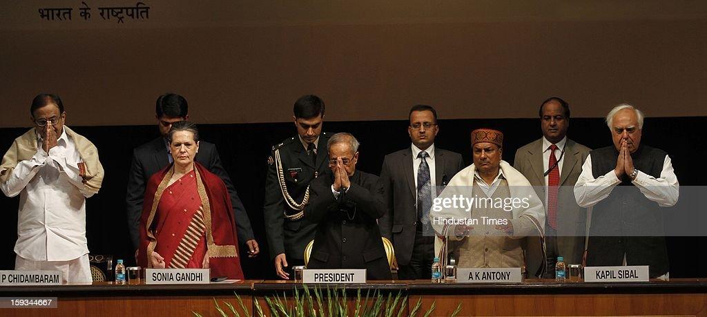 Finance Minister P Chidambaram, UPA Chairman Sonia Gandhi, President Pranab Mukherjee, Defence Minister A K Antony and Minister of Communications & IT Kapil Sibal during the Commemoration of 150th Birth Anniversary of Swami Vivekananda at Rashtrapati Bhawan on January 12, 2013 in New Delhi, India.