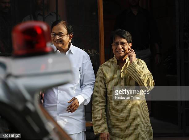 Finance Minister P Chidambaram with Union Minister for Civil Aviation Ajit Singh coming out after cabinet meeting at South Block on May 13 2014 in...
