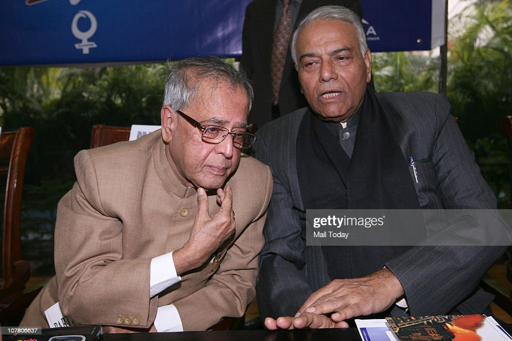 Finance Minister <a gi-track='captionPersonalityLinkClicked' href=/galleries/search?phrase=Pranab+Mukherjee&family=editorial&specificpeople=565924 ng-click='$event.stopPropagation()'>Pranab Mukherjee</a> and senior BJP leader <a gi-track='captionPersonalityLinkClicked' href=/galleries/search?phrase=Yashwant+Sinha&family=editorial&specificpeople=227891 ng-click='$event.stopPropagation()'>Yashwant Sinha</a> during a function to celebrate 10 years of South Asian Free Media Association in New Delhi on December 28, 2010.
