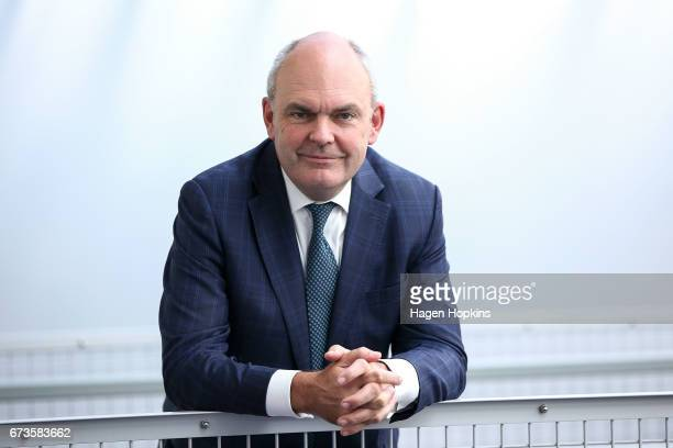 Finance Minister Steven Joyce poses during a prebudget address at Westpac Stadium on April 27 2017 in Wellington New Zealand Budget 2017 will be...