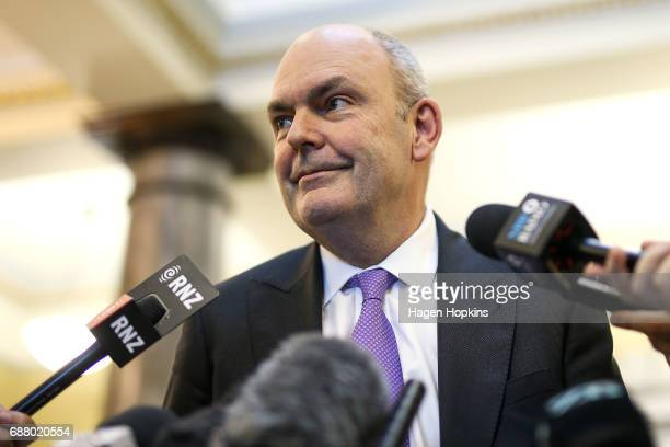 Finance Minister Steven Joyce speaks to media after the 2017 budget presentation at Parliament on May 25 2017 in Wellington New Zealand Finance...