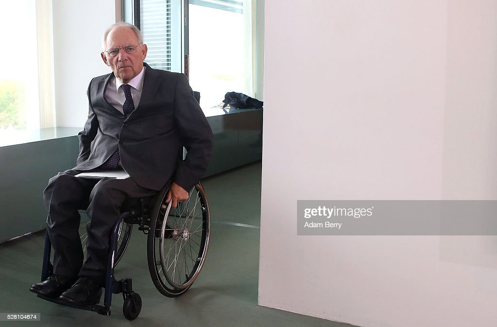 Finance Minister Wolfgang Schaeuble (CDU) arrives for the weekly German federal Cabinet meeting on May 4, 2016 in Berlin, Berlin. High on the meeting's agenda was discussion of laws pertaining to maternity leave.