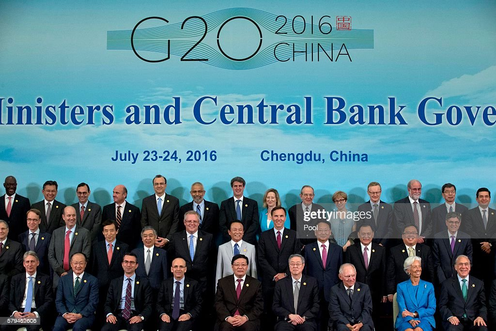 Finance Ministers and Central Bank Governors including Britain's Chancellor of the Exchequer Philip Hammond World Bank President Jim Yong Kim an...
