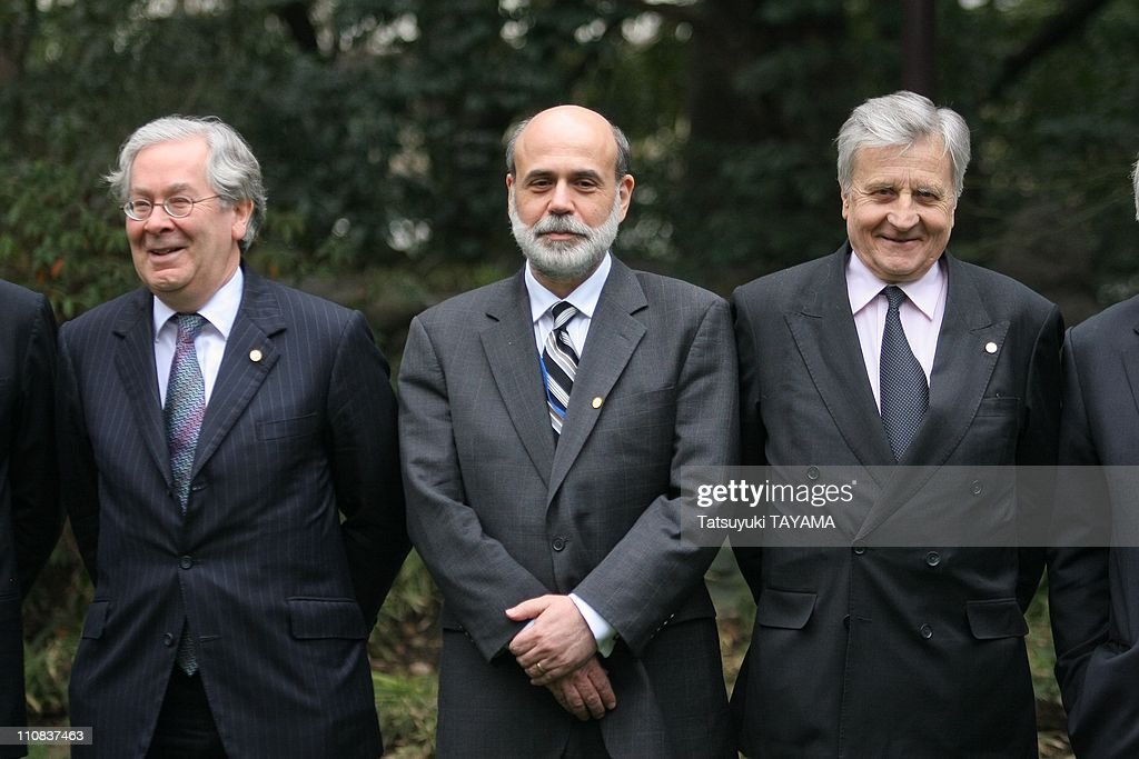 G7 Finance Ministers' And Central Bank Governors' Meeting In Tokyo, Japan On February 09, 2008 - British Central Bank Governor <a gi-track='captionPersonalityLinkClicked' href=/galleries/search?phrase=Mervyn+King+-+Economist&family=editorial&specificpeople=14888473 ng-click='$event.stopPropagation()'>Mervyn King</a>, left, U.S - Federal Reserve Chairman <a gi-track='captionPersonalityLinkClicked' href=/galleries/search?phrase=Ben+Bernanke&family=editorial&specificpeople=568098 ng-click='$event.stopPropagation()'>Ben Bernanke</a>, center, and European Central Bank President <a gi-track='captionPersonalityLinkClicked' href=/galleries/search?phrase=Jean-Claude+Trichet&family=editorial&specificpeople=208778 ng-click='$event.stopPropagation()'>Jean-Claude Trichet</a>.
