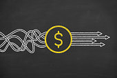 Finance solution concepts on blackboard background