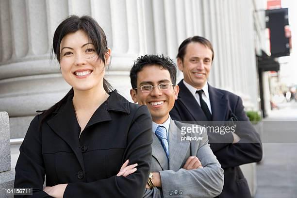 Finance team on city street