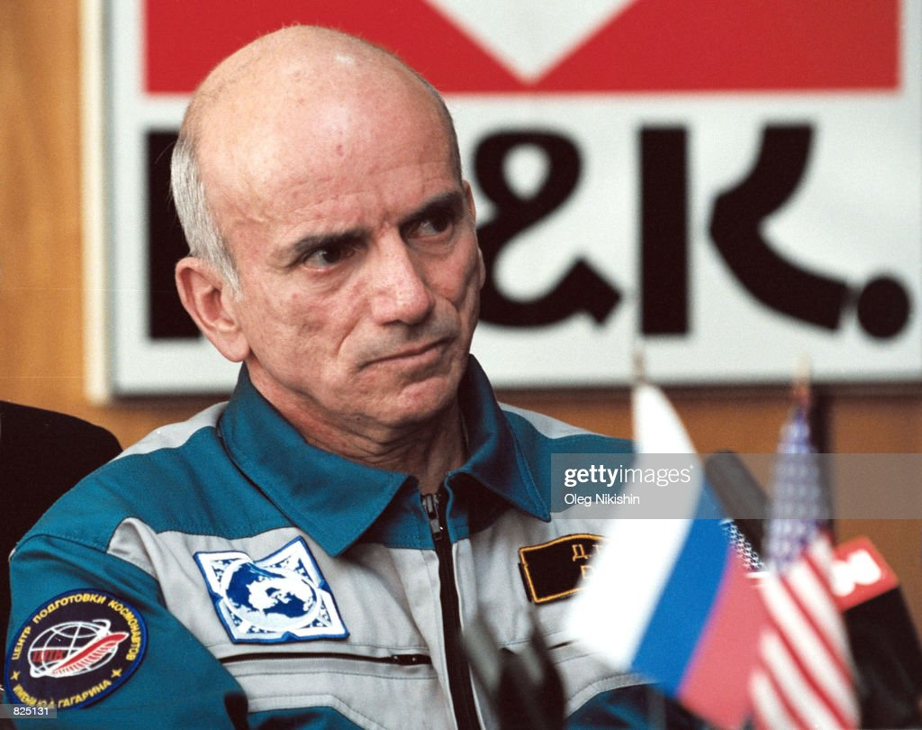 U.S. financer Dennis Tito attends a post-space flight news conference May 8, 2001 at Star City outside of Moscow, Russia. Tito, the first tourist in space, discussed his six days on the International Space Station (ISS) and NASA's negative reaction to his trip.