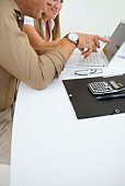Financial adviser and client with laptop