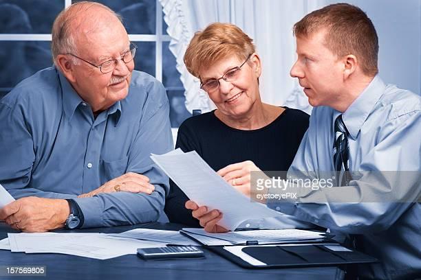 Financial advisor helping seniors
