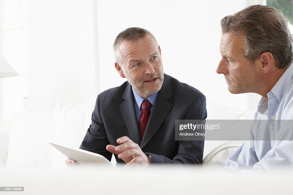 Financial advisor talking to customer