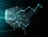 3D composite illustrations, representing financial data charts, stock market data, and financial technology.