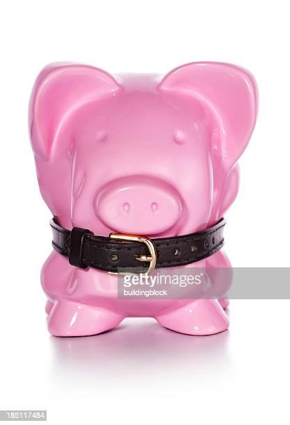 Financial Belt Tightening Piggy Bank