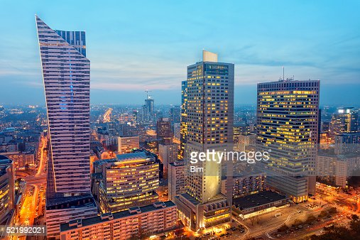 Financial Buildings Illuminated at Twilight, Warsaw, Poland