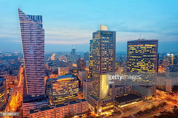 Financial Buildings Illuminated at Twilight, Warsaw, Poland
