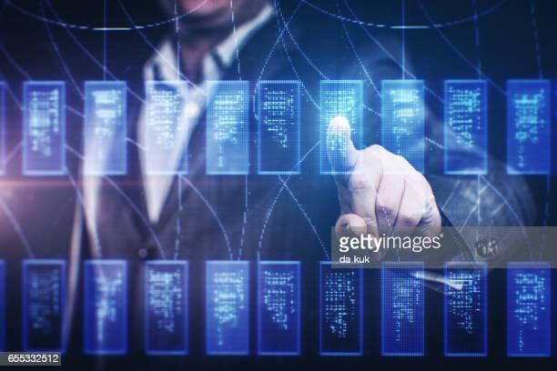 Financial chart at digital display