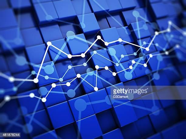 青色の背景に経済チャート