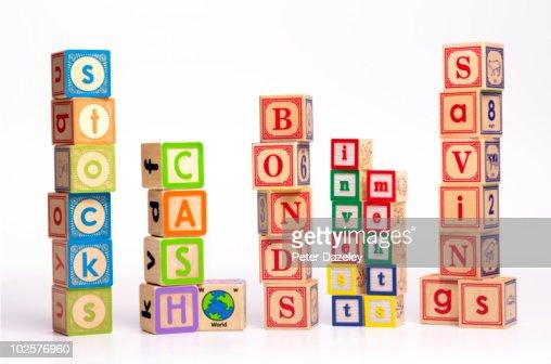 Financial children's building blocks  : Stock Photo