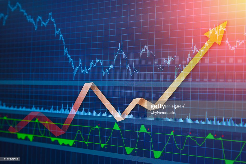 Financial data on a monitor : Stock Photo
