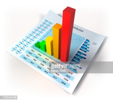 Financial data with 3d diagram - isolated / clipping path