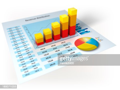 Financial data with 3d diagram