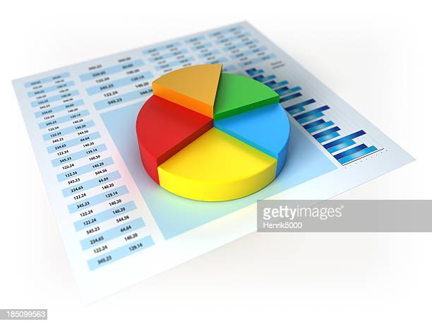 Financial data with 3d piechart isolated on white /clipping path