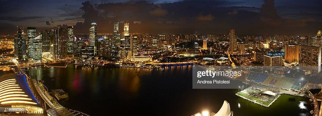Financial District and Marina Bay, Singapore : Stock Photo