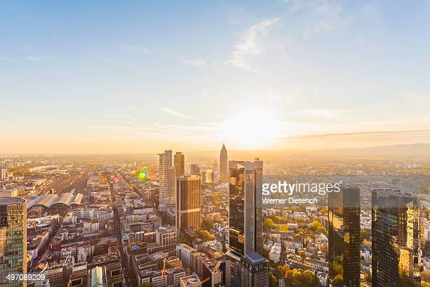 Financial district at downtown Frankfurt, Germany