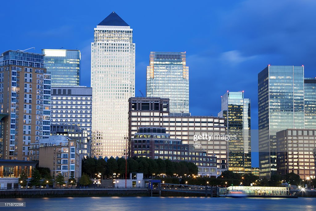 Financial District at Dusk, in Canary Wharf, London, UK