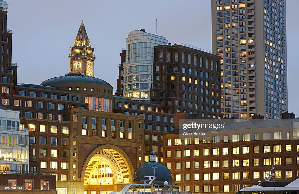 Financial district at dusk : Stock Photo