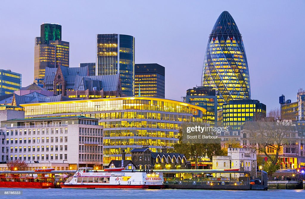 Financial district buildings in the City of London