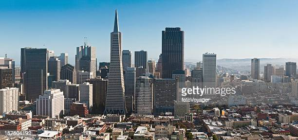 Financial District Chinatown aerial panorama San Francisco cityscape California