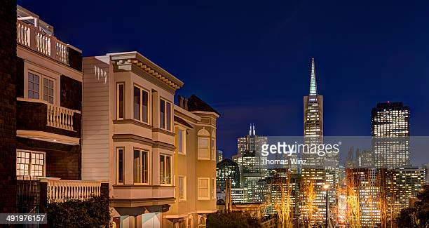 Financial district in San Francisco at night