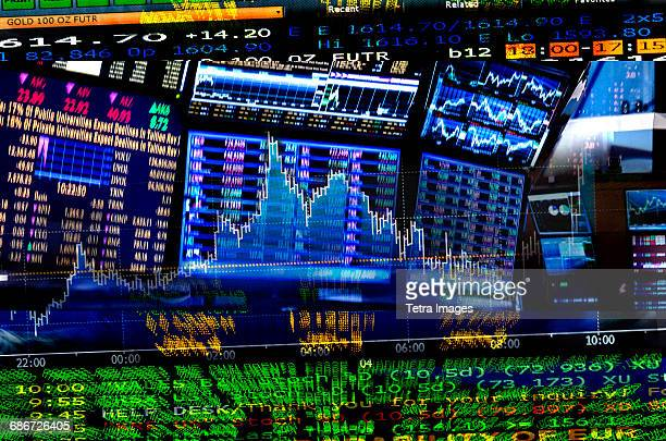 Financial figures on screens