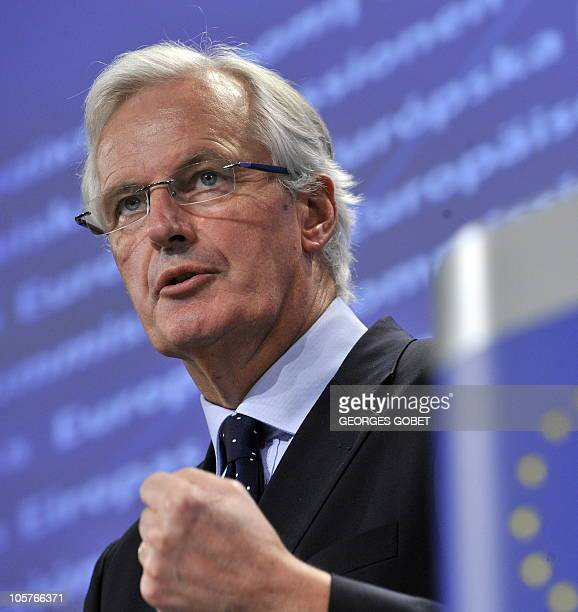EU financial services commissioner M Michel Barnier gives a press conference on October 20 2010 at EU headquarters in Brussels on the creation of a...