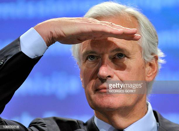 EU financial services commissioner Michel Barnier gives a press conference on October 20 2010 at EU headquarters in Brussels on the creation of a...